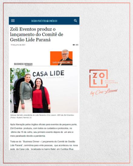 """evento """"Business Dinner – Lançamento do Comitê de Gestão Lide Paraná"""